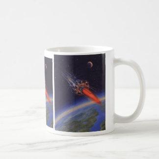 Vintage Science Fiction Sci Fi Rocketship Earth Coffee Mugs
