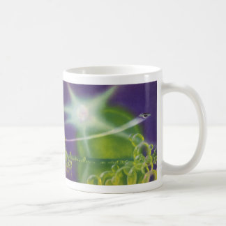 Vintage Science Fiction Sci Fi Spaceship Bubbles Basic White Mug