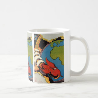 Vintage Science Fiction, Sci Fi, Spaceship Earth Basic White Mug