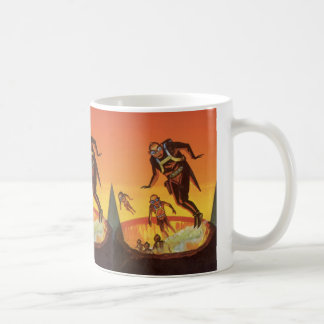 Vintage Science Fiction, Sci Fi Volcano Aliens Classic White Coffee Mug