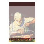 Vintage Science Fiction Scientist in Laboratory Custom Stationery