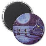 Vintage Science Fiction, SciFi Alien Lunar Landing 6 Cm Round Magnet