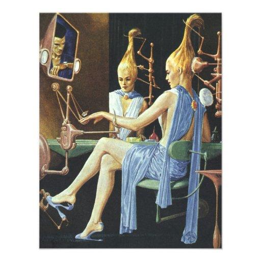 Vintage Science Fiction Spa Beauty Salon Manicures Custom Invites