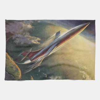 Vintage Science Fiction Spaceship Airplane Earth Hand Towel