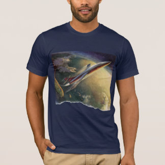 Vintage Science Fiction Spaceship Airplane Earth T-Shirt
