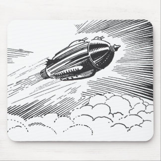 Vintage Science Fiction Spaceship Rocket in Clouds Mouse Pad