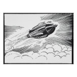 Vintage Science Fiction Spaceship Rocket in Clouds Poster