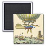 Vintage Science Fiction Steampunk Hot Air Balloon Square Magnet