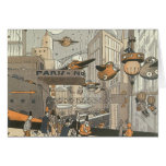 Vintage Science Fiction Steampunk Urban Paris Greeting Card