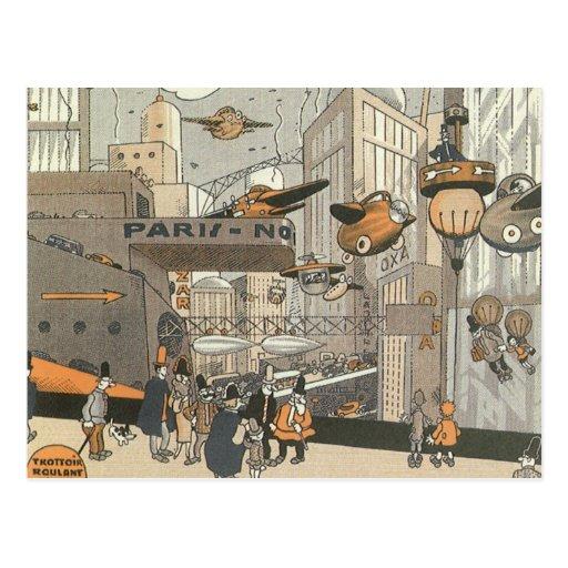 Vintage Science Fiction Steampunk Urban Paris Post Cards