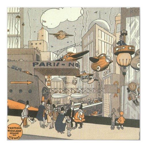 Vintage Science Fiction Urban Paris, Steam Punk 13 Cm X 13 Cm Square Invitation Card