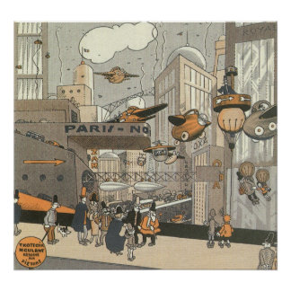 Vintage Science Fiction Urban Paris, Steam Punk Poster