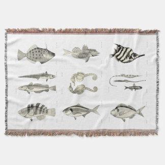 Vintage Science NZ Fish - Throw Blanket