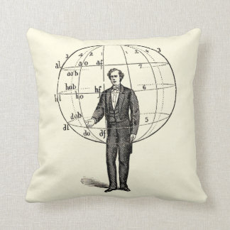 Vintage Scientific Illustration of a Man Gesturing Cushion