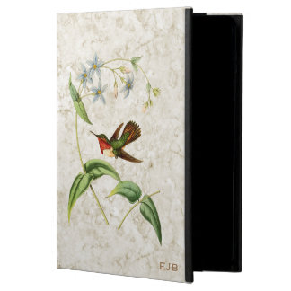 Vintage Scintillant Hummingbird Monogrammed Case For iPad Air