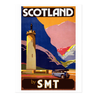 """Vintage Scotland Bus Company Travel Poster"" Postcard"