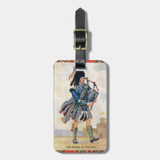 Vintage Scotland, Follow the Bagpipes Luggage Tag