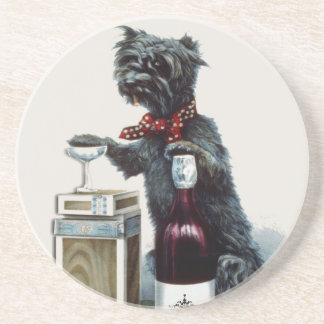 Vintage Scottie with Champagne Coasters