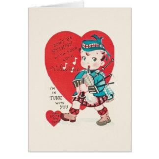 Vintage Scottish Bagpiper Valentine Card
