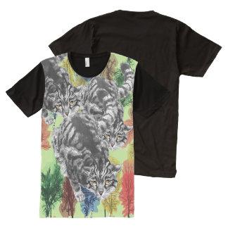 Vintage Scottish Wildcat Tree Art All-Over Print T-Shirt