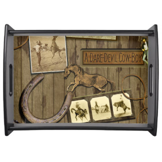 Vintage Scrapbook Dare-Devil Cowboy Tray