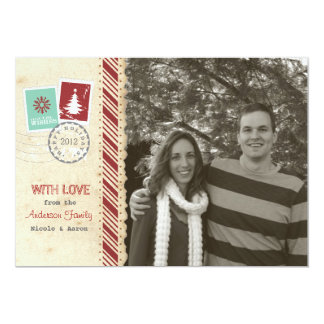 "Vintage Scrapbook Holiday Card 5"" X 7"" Invitation Card"