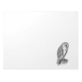 Vintage Screech Owl Bird Illustration Template Notepads