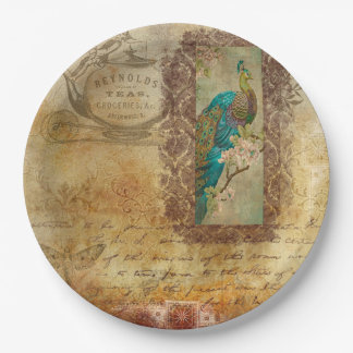 Vintage Script brown Turquoise Peacock Plates 9 Inch Paper Plate