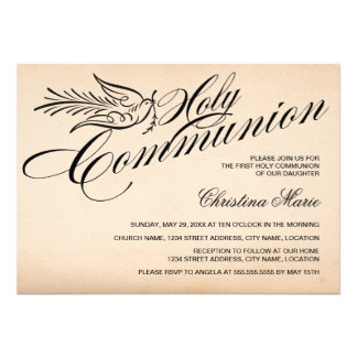 Vintage Script Dove and Cross First Holy Communion Custom Invites