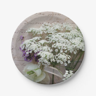 Vintage script with white flowers paper plate
