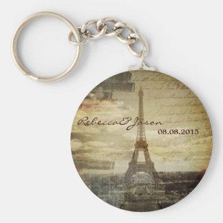 vintage scripts Paris Eiffel Tower Wedding favor Basic Round Button Key Ring
