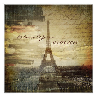 vintage scripts Paris Eiffel Tower Wedding Photo