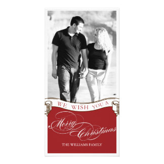 Vintage Scroll Christmas Card Personalized Photo Card