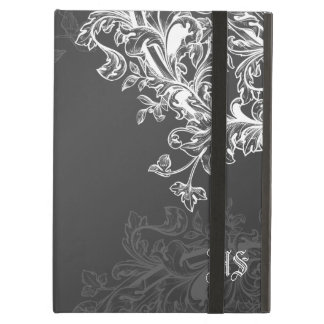 Vintage Scroll Custom Initials Black Case For iPad Air