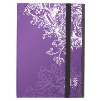 Vintage Scroll Custom Initials Purple iPad Covers