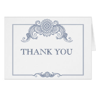Vintage scroll design wedding thank you card-navy note card
