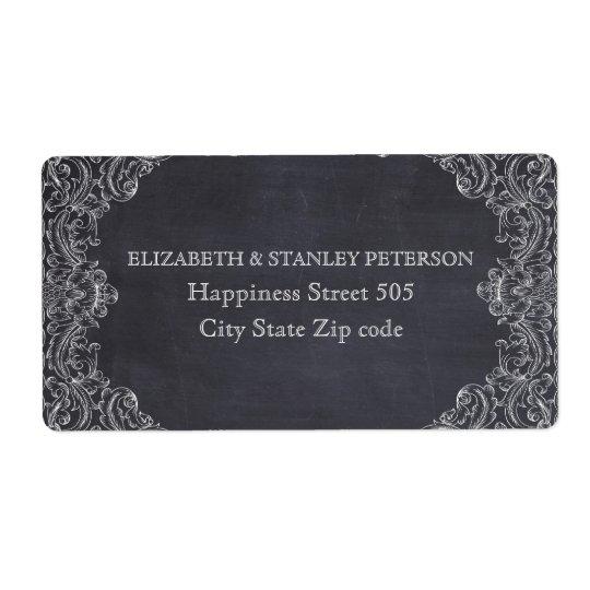 Vintage scroll leaf frame and chalkboard wedding shipping label