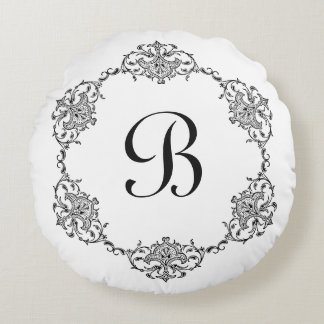 Vintage Scroll Monogram Accent Pillow