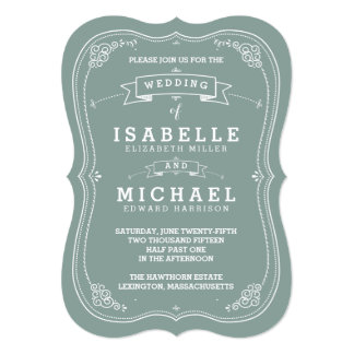 Vintage Scroll Wedding Invitation | Green