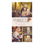 Vintage Scrolls Fall Leaves Thanksgiving Greetings Customized Photo Card