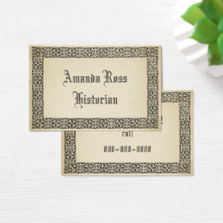 Vintage Scrollwork Border Antique Parchment Look Business Card