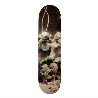 Vintage Scuba Diver Mermaid Fish Fantasy Sea Sand Custom Skate Board