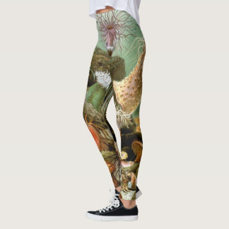 Vintage Sea Anemones, Marine Life Animals Leggings