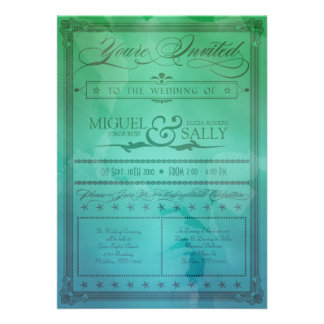 Vintage Sea Green Blue DIY Wedding Invitation