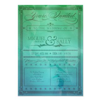 Vintage Sea Green & Blue DIY Wedding Invitation