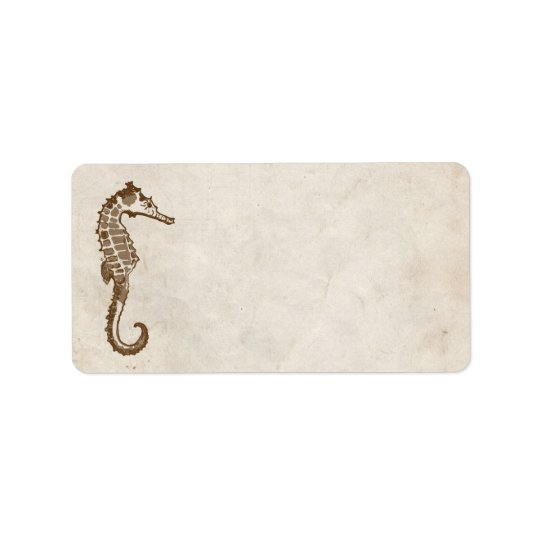 Vintage Sea Horse Beach Address Label