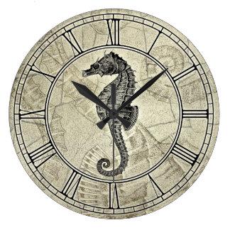 Vintage Sea Horse Illustration Large Clock