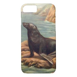Vintage Sea Lion by the Seashore, Marine Mammal iPhone 7 Case