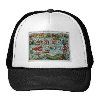 Vintage Sea Monsters Mesh Hats