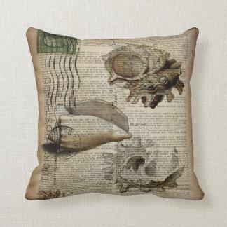 vintage sea shells elegant beach art throw pillow
